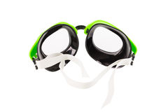 Plastic green goggles for swimming. Isolated on a white background stock images