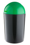Black plastic with green lid selective trash can for glass Royalty Free Stock Photos