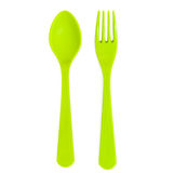 Plastic green spoon and fork isolated Stock Images