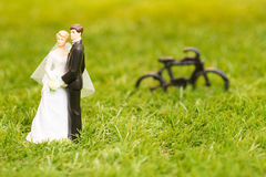 Plastic groom and bride Stock Photos