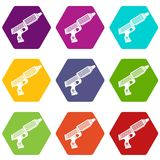 Plastic gun toy icon set color hexahedron. Plastic gun toy icon set many color hexahedron isolated on white vector illustration Royalty Free Stock Photography
