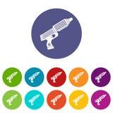 Plastic gun toy icons set flat vector Stock Image