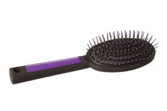 Plastic Hairbrush on white background Stock Photos