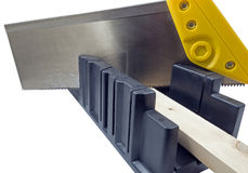 Plastic hand saw and angle cut miter box tool Stock Image