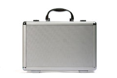 Plastic handbag. Gray plastic suitcase. Front view Stock Photo
