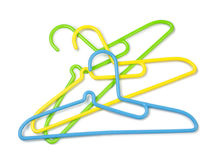 Plastic hangers for shirt,coat and pants Stock Photo