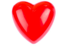 Plastic Heart. Red Plastic Heart on white background royalty free stock photography