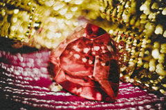 Plastic Heart on Textile Stock Photography