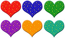 Plastic hearts with stars Royalty Free Stock Photo