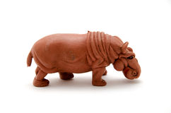 Plastic hippo. Foreground isolated white background Stock Photo