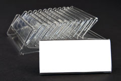 Plastic holders for price tags Royalty Free Stock Images