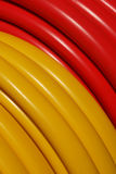 Plastic hose 02. Plastic garden coiled hose in close up Stock Photo