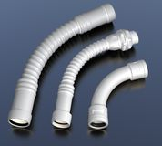 Plastic hoses with connectors. Industrial illustration Stock Photos