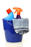 Plastic household bucket with two cleaning bottles Royalty Free Stock Images