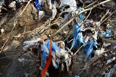 Plastic Huisvuilverontreiniging in bergstroom Stock Afbeeldingen