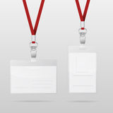 Plastic ID Horizontal And Vertical Badges With Red Lanyards Stock Photos