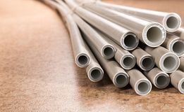 Plastic industrial tubes Stock Photos