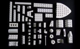Plastic interlocking bricks of toy constructor studio isolated Royalty Free Stock Photos
