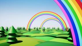 Plastic island with rainbow and plastic trees