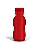 Plastic Jar. Red Plastic Jar, you can wrap it with your own artwork/ design Stock Photo