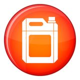 Plastic jerry can icon, flat style. Plastic jerry can icon in red circle isolated on white background vector illustration Royalty Free Stock Photo