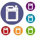 Plastic jerry can icons set. In flat circle reb, blue and green color for web Stock Photos