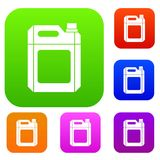 Plastic jerry can set collection. Plastic jerry can set icon in different colors isolated vector illustration. Premium collection Stock Photo