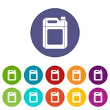 Plastic jerry can set icons. In different colors isolated on white background Royalty Free Stock Photos