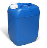 Plastic Jerrycan. Blue Canister. Blue plastic jerrycan isolated on white background. Sample isolated Royalty Free Stock Photography
