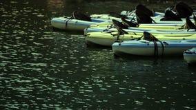 Plastic kajaks in het water stock video