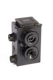 Plastic kamera för tvilling- lins som isoleras på white Royaltyfria Foton