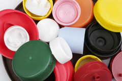 Plastic kappen Stock Foto's
