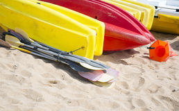 Plastic kayaks Stock Images