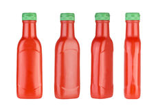 Plastic ketchup bottle isolated on white background. Different views. Stock Image