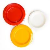 3 plastic kleurenschotel Royalty-vrije Stock Foto's