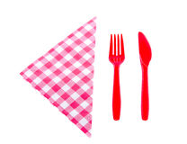 Plastic knife and fork Stock Images