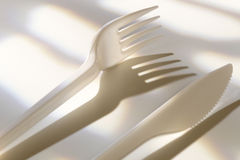 Plastic knife and fork Stock Photo