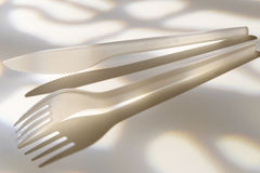Plastic knife and fork Stock Image