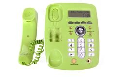 Plastic landline phone with buttons isolated on a Royalty Free Stock Photography
