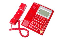 Plastic landline telefoon met knopen die op a worden geïsoleerd Stock Afbeelding