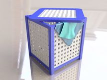 Plastic Laundry Basket in 3D Stock Image