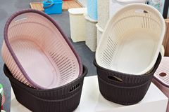 Plastic laundry baskets in store. Plastic laundry baskets in the store Stock Photos