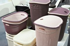 Plastic laundry baskets in store Royalty Free Stock Images