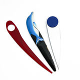 Plastic letter openers. Old colorful plastic letter openers stock photography