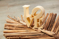 Plastic letters forming word LOVE. Royalty Free Stock Photos