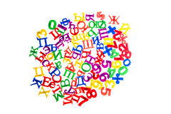 Plastic letters and numbers Stock Photos