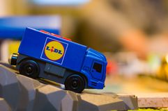Plastic Lidl toy truck Royalty Free Stock Photo