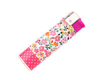 Plastic lighter. Flower pattern lighter isolated on a white background Royalty Free Stock Images