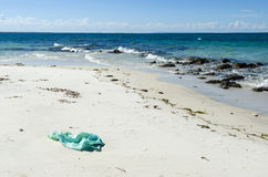 Plastic litter on tropical shore Stock Photos