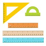 Plastic measuring rulers set. Protractor, triangle, measuring rulers of different sizes. Tools for education and work. Stationery and office supply. Vector vector illustration